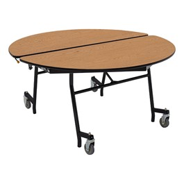 """Round Mobile Cafeteria Table w/ MDF Core, Protect Edge & Powder Coat Frame (48\"""" Diameter)"""