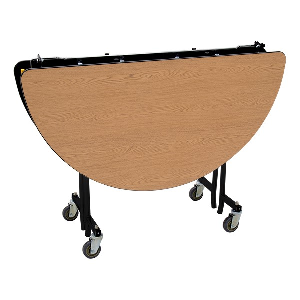 """Round Mobile Cafeteria Table w/ MDF Core, Protect Edge & Powder Coat Frame (48"""" Diameter) - Folded"""