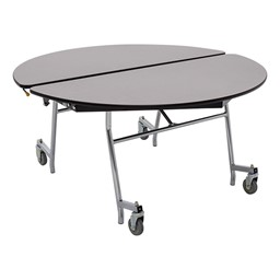 """Round Mobile Cafeteria Table w/ Particleboard Core & Chrome Frame (48"""" Diameter) - Gray Nebula"""