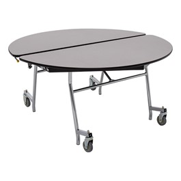 """Round Mobile Cafeteria Table w/ Particleboard Core & Chrome Frame (48\"""" Diameter) - Gray Nebula"""