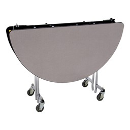 """Round Mobile Cafeteria Table w/ Particleboard Core & Chrome Frame (48"""" Diameter) - Gray Nebula (folded view)"""