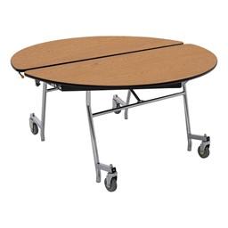 "Round Mobile Cafeteria Table w/ MDF Core, Protect Edge & Chrome Frame (48"" Diameter)"