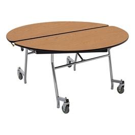 "Round Mobile Cafeteria Table w/ MDF Core, Protect Edge & Chrome Frame (48\"" Diameter)"