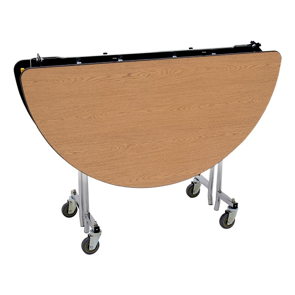 """Round Mobile Cafeteria Table w/ MDF Core, Protect Edge & Chrome Frame (48"""" Diameter) - Folded"""