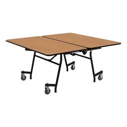 """New Square Mobile School Cafeteria Table (60"""" W x 60"""" L) - Oak"""