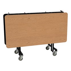"""Square Mobile Cafeteria Table w/ MDF Core, Protect Edge & Powder Coat Frame (48"""" W x 48"""" L x 29"""" H) - Folded"""
