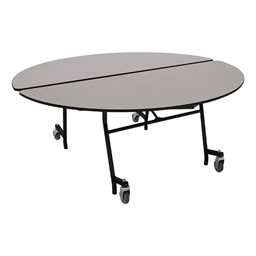 """Round Mobile Cafeteria Table w/ Particleboard Core & Powder-Coat Frame (60"""" Diameter) - Gray Nebula"""