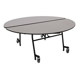"""Round Mobile Cafeteria Table w/ Particleboard Core & Powder-Coat Frame (60\"""" Diameter) - Gray Nebula"""