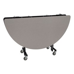 "Round Mobile Cafeteria Table w/ Particleboard Core & Powder-Coat Frame (60"" Diameter) - Gray Nebula (folded view)"