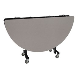 """Round Mobile Cafeteria Table w/ Particleboard Core & Powder-Coat Frame (60"""" Diameter) - Gray Nebula (folded view)"""