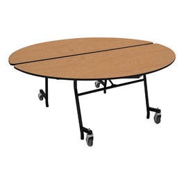 """Round Mobile Cafeteria Table w/ MDF Core, Protect Edge & Powder-Coat Frame (72\"""" Diameter)"""
