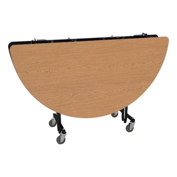 """Round Mobile Cafeteria Table w/ MDF Core, Protect Edge & Powder-Coat Frame (72"""" Diameter) - Folded"""