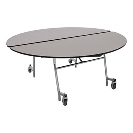Round Mobile Cafeteria Table w/ Particleboard Core - Gray Nebula
