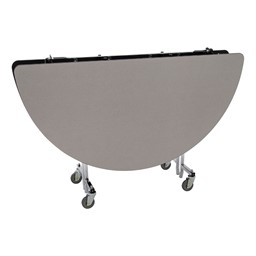 Round Mobile Cafeteria Table w/ Particleboard Core - Gray Nebula (folded view)