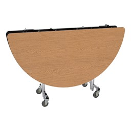 Round Mobile Cafeteria Table - Folded