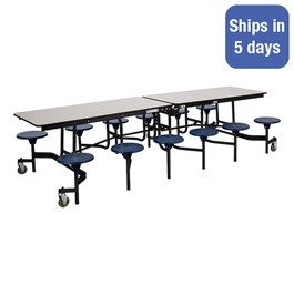 """Mobile Stool Cafeteria Table w/ Particleboard Core and Powder Coat Frame - 12 Stools (30\"""" W x 10\' L) - Quick Ship"""