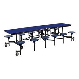 """Mobile Stool Cafeteria Table - 12 Stools (30"""" W x 10' L) - Blue"""