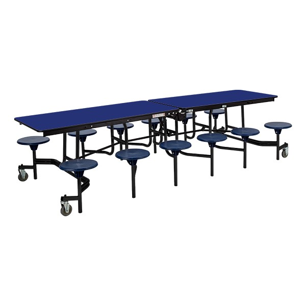 Mobile Stool Cafeteria Table w/ Particleboard Core and Powder Coat Frame - 12 Stools (10' L) - Gray Nebula