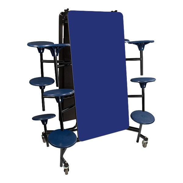Mobile Stool Cafeteria Table w/ Particleboard Core and Powder Coat Frame - 12 Stools (10' L) - Gray Nebula (folded view)