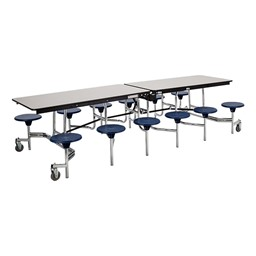 """Mobile Stool Cafeteria Table - 12 Stools (30"""" W x 10' L) - Gray"""
