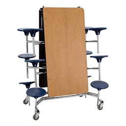 Mobile Stool Cafeteria Table w/ MDF Core & Protect Edge - Folded