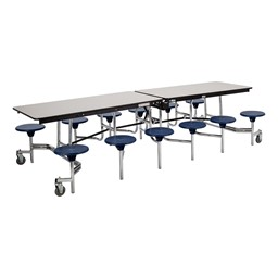 """Mobile Stool Cafeteria Table - 12 Stools (30"""" W x 12' L) - Gray"""