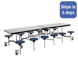 Mobile Stool Cafeteria Table w/ Particleboard Core - Quick Ship