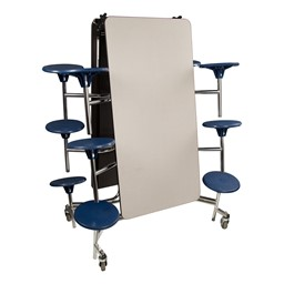 """Mobile Stool Cafeteria Table - 12 Stools (30"""" W x 12' L) - Gray - Folded"""