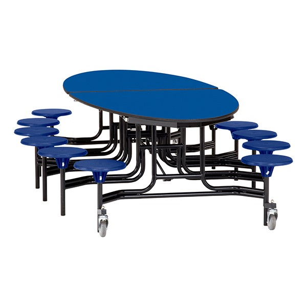"""Elliptical Mobile Stool Cafeteria Table w/ MDF Core, Powder Coat Frame & Protect Edge - 12 Stools (73 1/2"""" W 10' 1"""" L) - Blue Top w/ Blue Stools"""