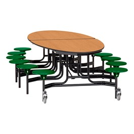 "Elliptical Mobile Stool Cafeteria Table w/ MDF Core, Powder Coat Frame & Protect Edge - 12 Stools (73 1/2"" W 10\' 1\"" L) - Oak Top w/ Green Stools"