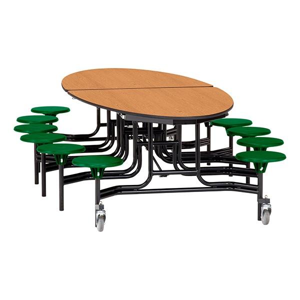 "Elliptical Mobile Stool Cafeteria Table w/ MDF Core, Powder Coat Frame & Protect Edge - 12 Stools (73 1/2"" W 10' 1"" L) - Oak Top w/ Green Stools"