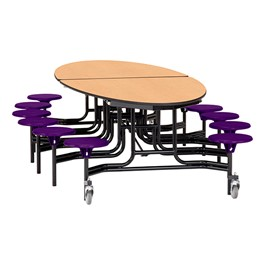 "Elliptical Mobile Stool Cafeteria Table w/ Plywood Core, Powder Coat Frame & Protect Edge - 12 Stools (73 1/2"" W x 10\'1\"" L) - Maple w/ Purple Stools"
