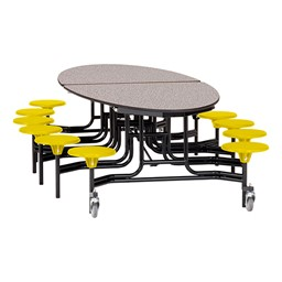 """Elliptical Mobile Stool Cafeteria Table w/ MDF Core, Powder Coat Frame & Protect Edge - 12 Stools (73 1/2"""" W 10' 1"""" L) - Gray Top w/ Yellow Stools"""