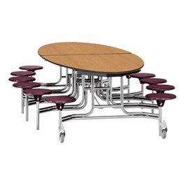"Elliptical Mobile Stool Cafeteria Table w/ Particleboard Core, Chrome Frame & Vinyl T-Mold Edge - 12 Stools (73 1/2"" W 10\' 1\"" L) - Oak Top w/ Burgundy Stools"