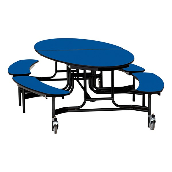"Elliptical Mobile Bench Cafeteria Table w/ Particleboard Core, Powder Coat Frame & Vinyl T-Mold Edge (72"" W 10' 1"" L) - Blue"