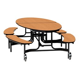 "Elliptical Mobile Bench Cafeteria Table w/ Particleboard Core, Powder Coat Frame & Vinyl T-Mold Edge (72"" W 10' 1"" L) - Oak"