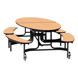 "Elliptical Mobile Bench Cafeteria Table w/ Particleboard Core, Powder Coat Frame & Vinyl T-Mold Edge (72"" W 10\' 1\"" L) - Fusion Maple"