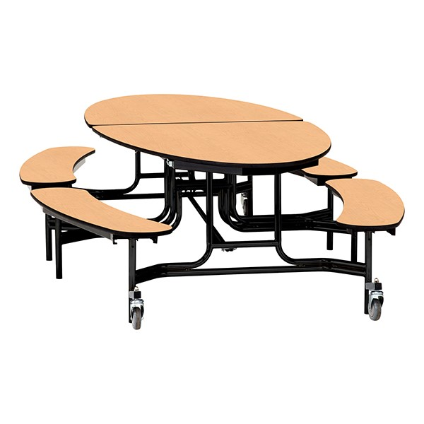 "Elliptical Mobile Bench Cafeteria Table w/ Particleboard Core, Powder Coat Frame & Vinyl T-Mold Edge (72"" W 10' 1"" L) - Fusion Maple"