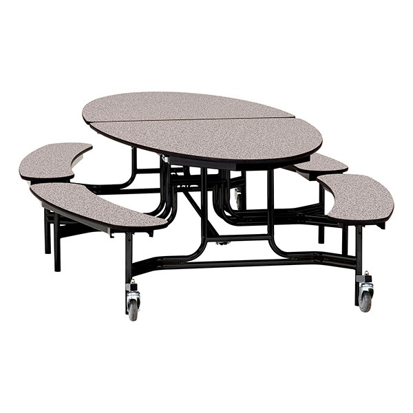 "Elliptical Mobile Bench Cafeteria Table w/ Particleboard Core, Powder Coat Frame & Vinyl T-Mold Edge (72"" W 10' 1"" L) - Gray"