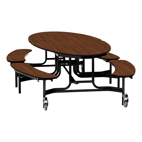 "Elliptical Mobile Bench Cafeteria Table w/ Particleboard Core, Powder Coat Frame & Vinyl T-Mold Edge (72"" W 10' 1"" L) - Walnut"