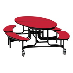 "Elliptical Mobile Bench Cafeteria Table w/ Particleboard Core, Powder Coat Frame & Vinyl T-Mold Edge (72"" W 10' 1"" L) - Red"
