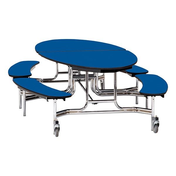 """Ellptical Mobile Bench Cafeteria Table w/ Plywood Core, Protect Edge & Chrome Frame (72"""" W x 10'1"""" L) - Blue"""