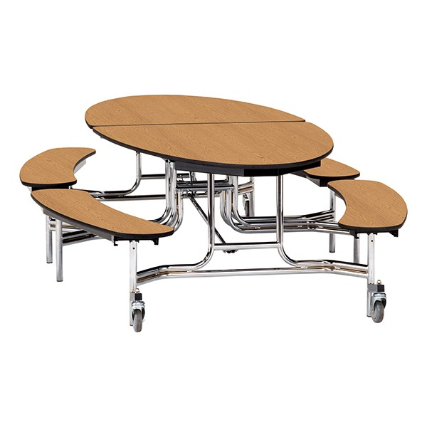 """Ellptical Mobile Bench Cafeteria Table w/ Plywood Core, Protect Edge & Chrome Frame (72"""" W x 10'1"""" L) - Oak"""