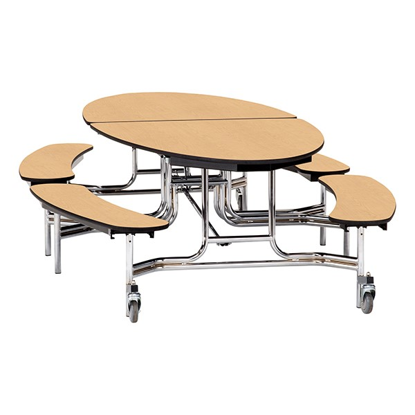 """Ellptical Mobile Bench Cafeteria Table w/ Plywood Core, Protect Edge & Chrome Frame (72"""" W x 10'1"""" L) - Maple"""