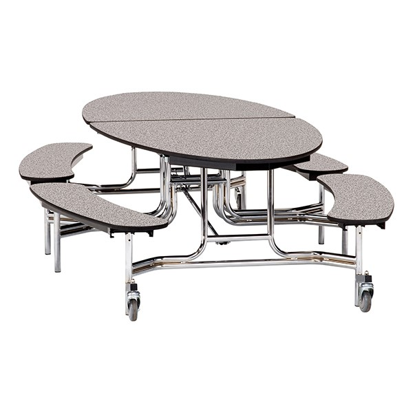 """Ellptical Mobile Bench Cafeteria Table w/ Plywood Core, Protect Edge & Chrome Frame (72"""" W x 10'1"""" L) - Gray"""