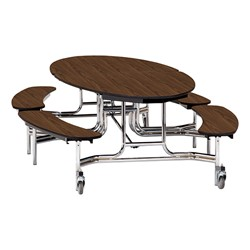 "Elliptical Mobile Bench Cafeteria Table w/ MDF Core, Chrome Frame & Protect Edge (72"" W 10' 1"" L) - Walnut"