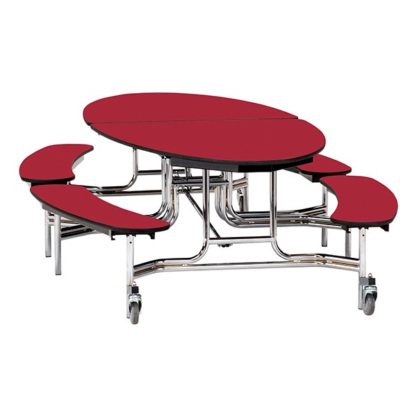 """Ellptical Mobile Bench Cafeteria Table w/ Plywood Core, Protect Edge & Chrome Frame (72"""" W x 10'1"""" L) - Red"""