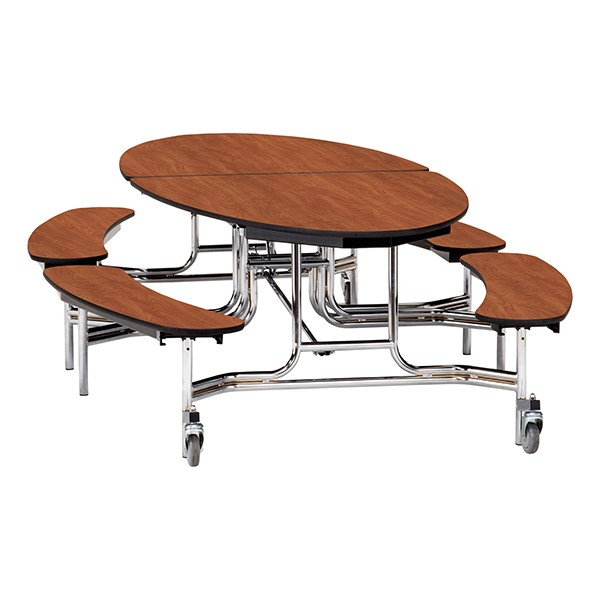 """Elliptical Mobile Bench Cafeteria Table w/ MDF Core, Chrome Frame & Protect Edge (72"""" W 10' 1"""" L) - Cherry"""
