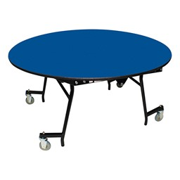 "Easy-Fold Mobile Round Nesting Cafeteria Table w/ MDF Core, Powder Coat Frame & Protect Edge (60"" Diameter) - Blue"