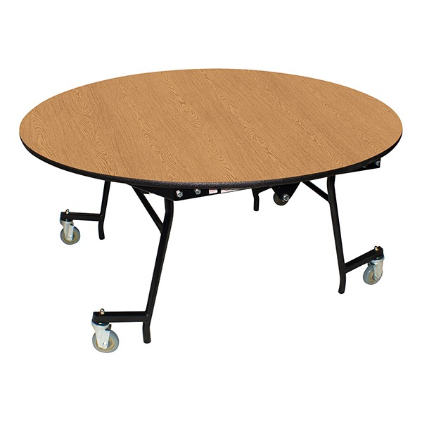 "Easy-Fold Mobile Round Nesting Cafeteria Table w/ MDF Core, Powder Coat Frame & Protect Edge (60"" Diameter) - Oak"